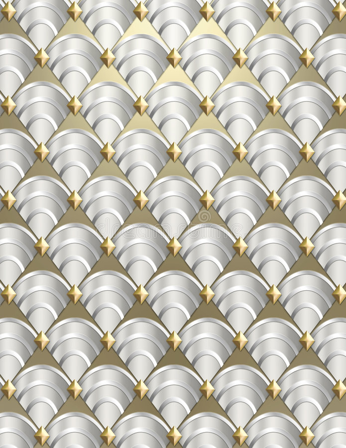 Art Deco shell Background. Modern shell pattern background styled after the Art Deco period done in metallic tones stock photo