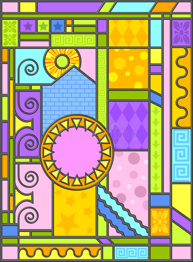 Art-deco stained glass art vector illustration