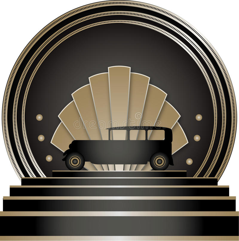 Art Deco Stye Badge. With a motoring theme and isolated against a white background stock illustration