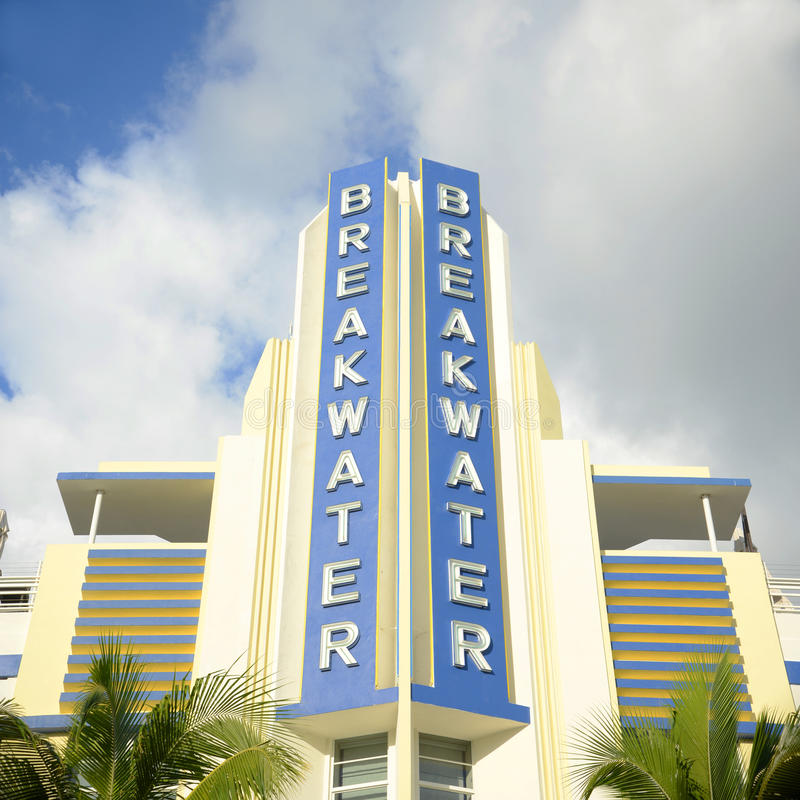 Art Deco Style Breakwater in Miami Beach, FL, USA. Art Deco Style Building Breakwater in Miami Beach, Miami, Florida, USA. Breakwater Hotel on Ocean Drive is an royalty free stock photography