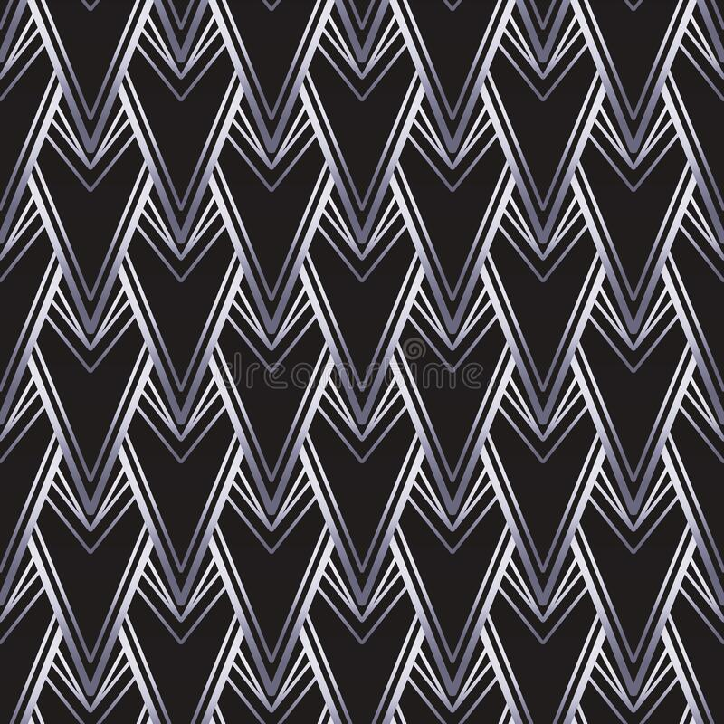 Free Art Deco Style Geometric Seamless Pattern In Black And Silver. Vector Illustration. Roaring 1920 Design. Jazz Era Royalty Free Stock Photography - 217298067