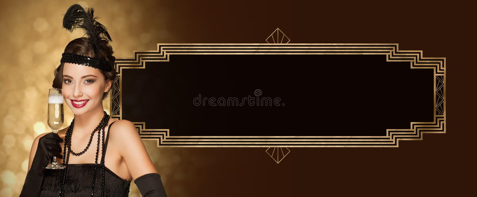 Art deco style party girl. Art deco style new year party girl with golden decorations royalty free stock photos