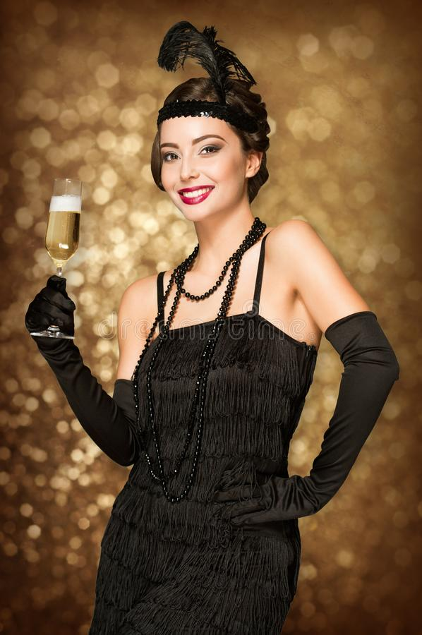 Download Art deco style party girl. stock image. Image of deco - 117904895