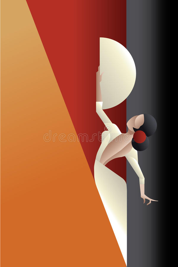 Free Art Deco Styled Spain Flamenco Dancer Royalty Free Stock Images - 53819829