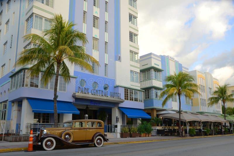 Art Deco stylu parka centrala w Miami plaży zdjęcia stock