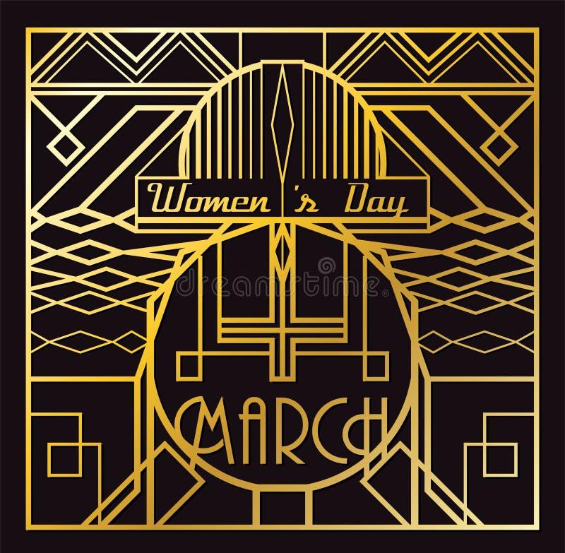 Art Deco tarjeta del 8 de marzo ilustración del vector