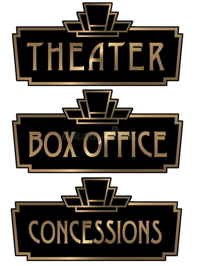 Art Deco Theater Box Office teckenplatta royaltyfri illustrationer