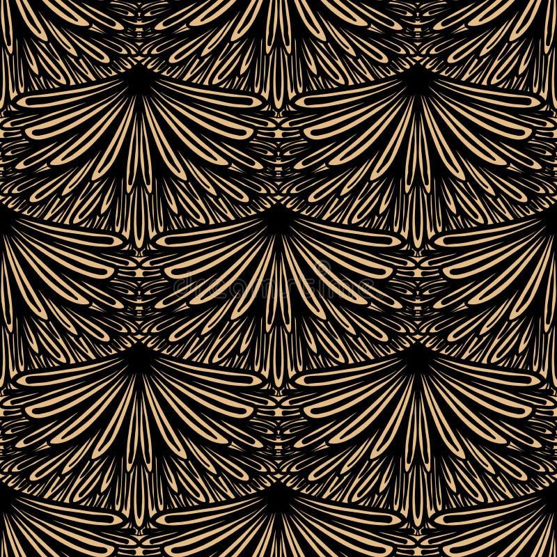 Art deco vector bloemenpatroon royalty-vrije illustratie