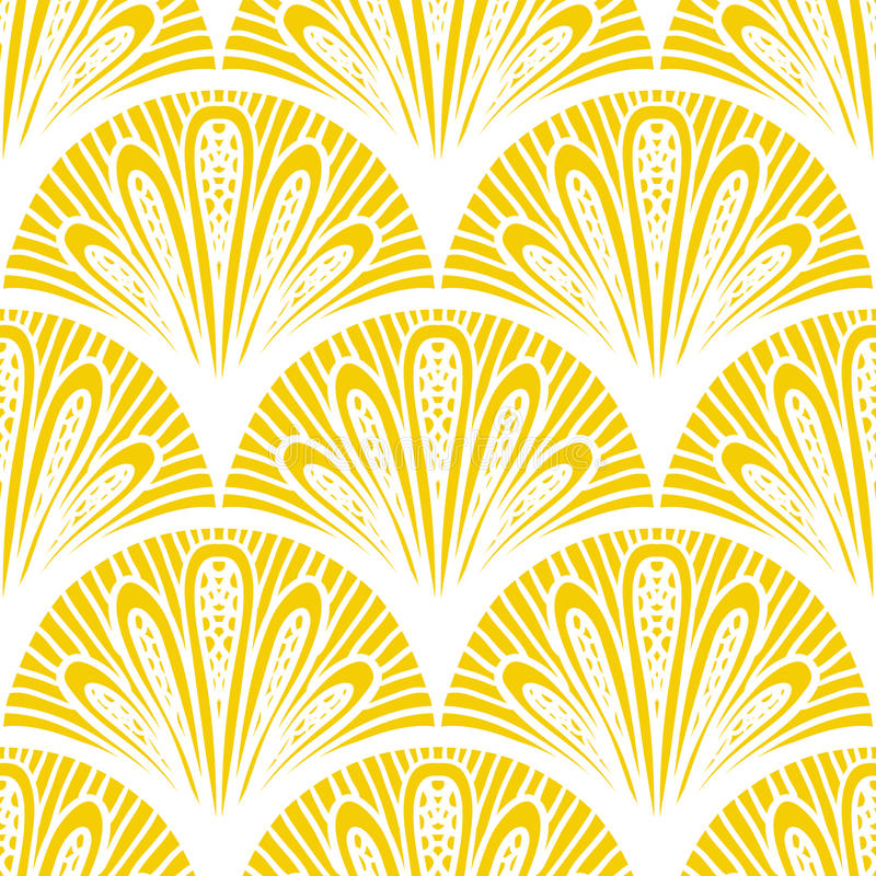 Free Art Deco Vector Geometric Pattern In Bright Yellow Stock Photo - 36184230