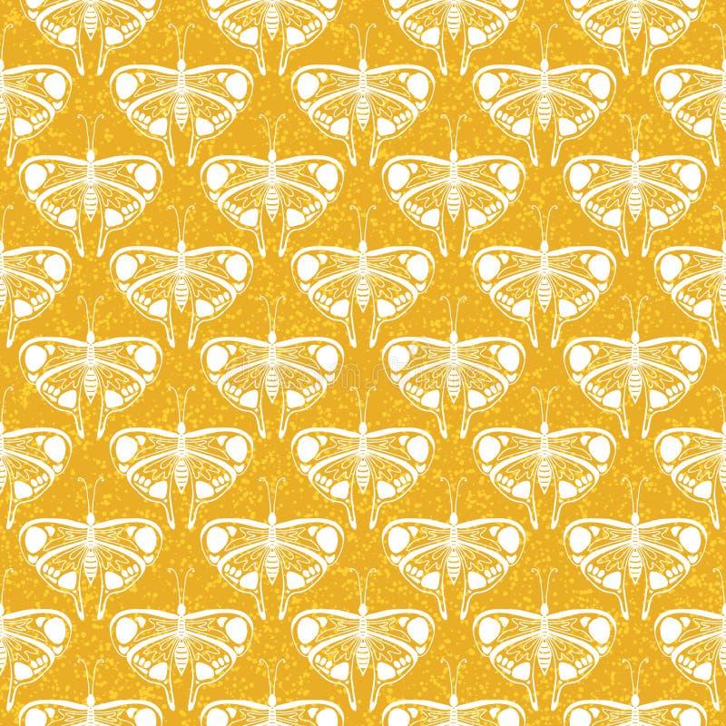 Art deco vector pattern with butterflies