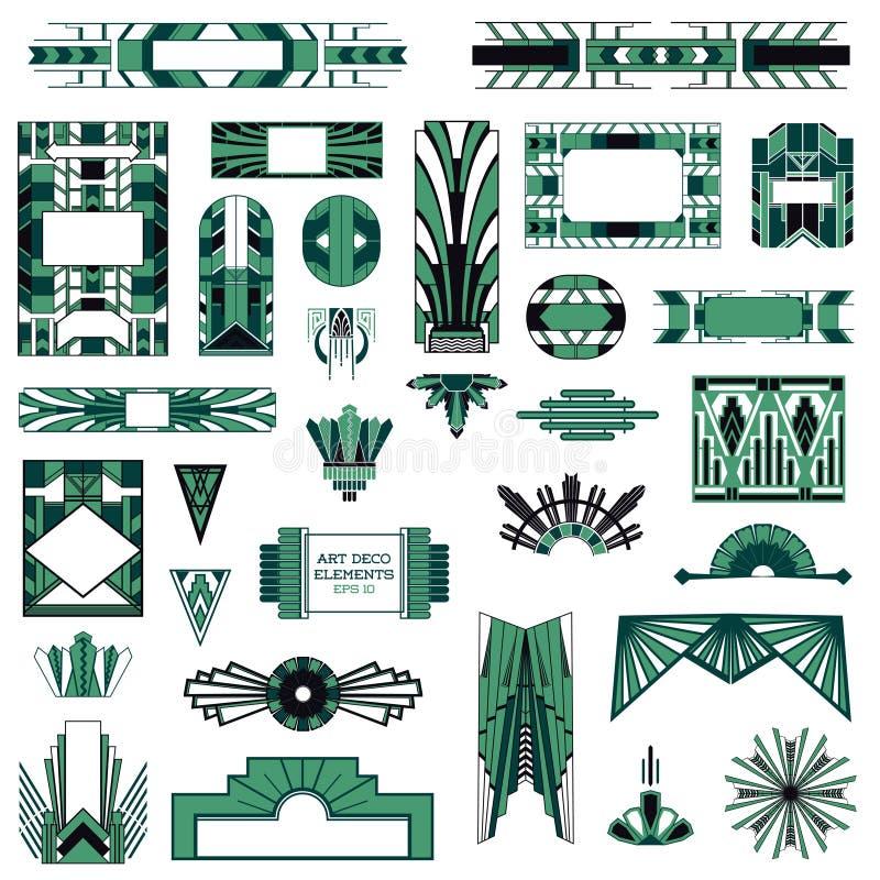 Art Deco Vintage Frames stock illustration
