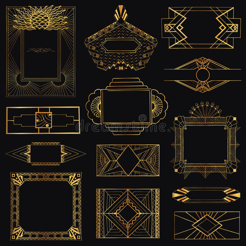 Art Deco Vintage Frames e elementos ilustração do vetor
