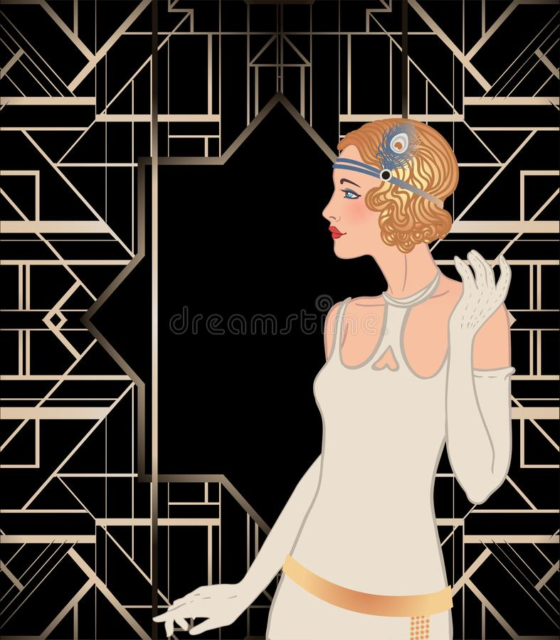 Art Deco vintage invitation template design with illustration of flapper girl. patterns and frames. Retro party background set (. 1920\'s style). Vector for royalty free illustration