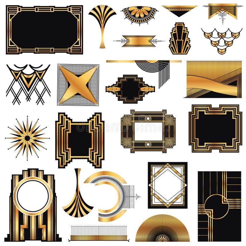 Art Deco Vintage-kaders stock illustratie