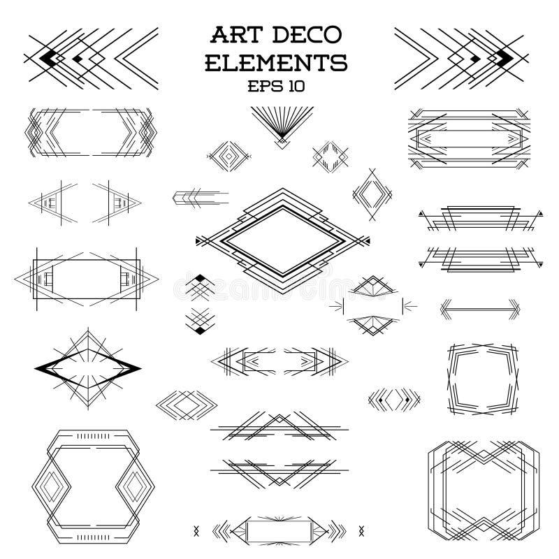 Art Deco Vintage-kaders en ontwerpelementen stock illustratie