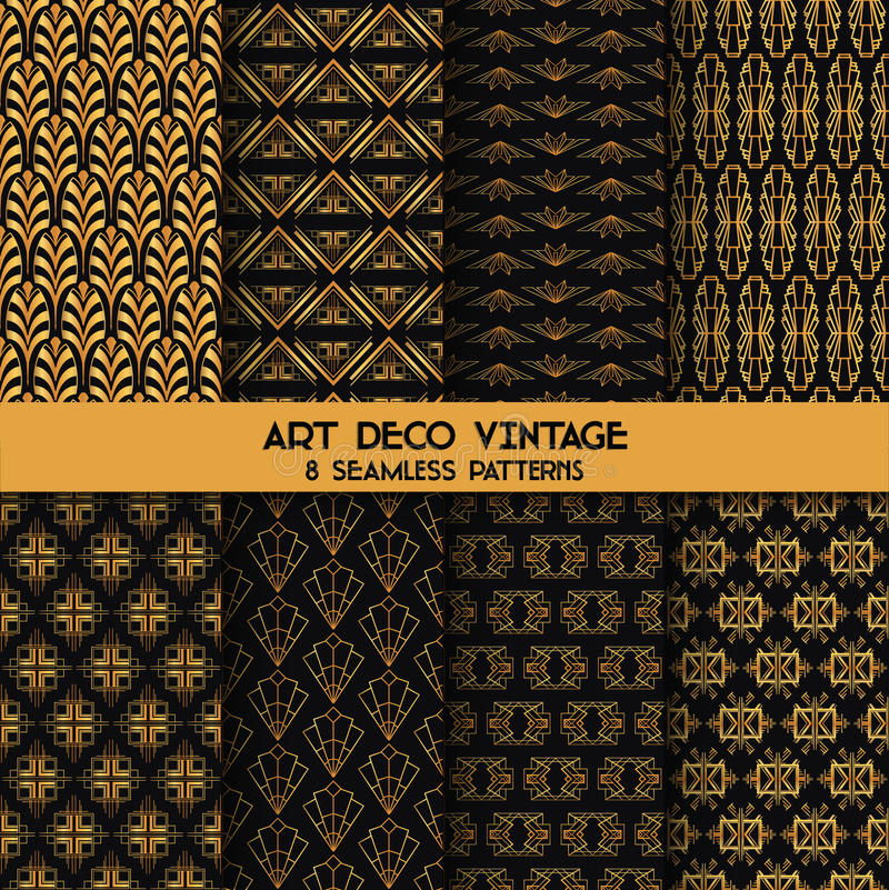 Art Deco Vintage Patterns vektor illustrationer