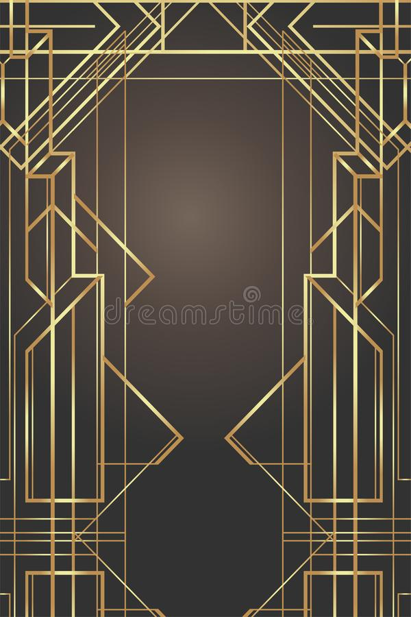 Art Deco vintage patterns and frames. Retro party geometric background set (1920's style). Vector illustration for glamour party, stock illustration