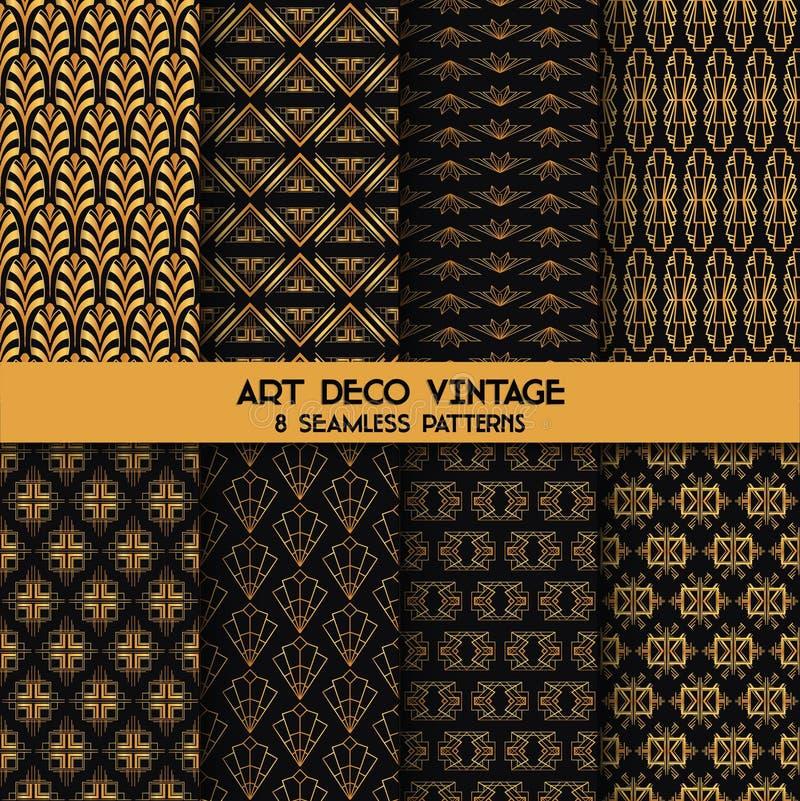 Art Deco Vintage Patterns. 8 Seanless Backgrounds - in vector vector illustration