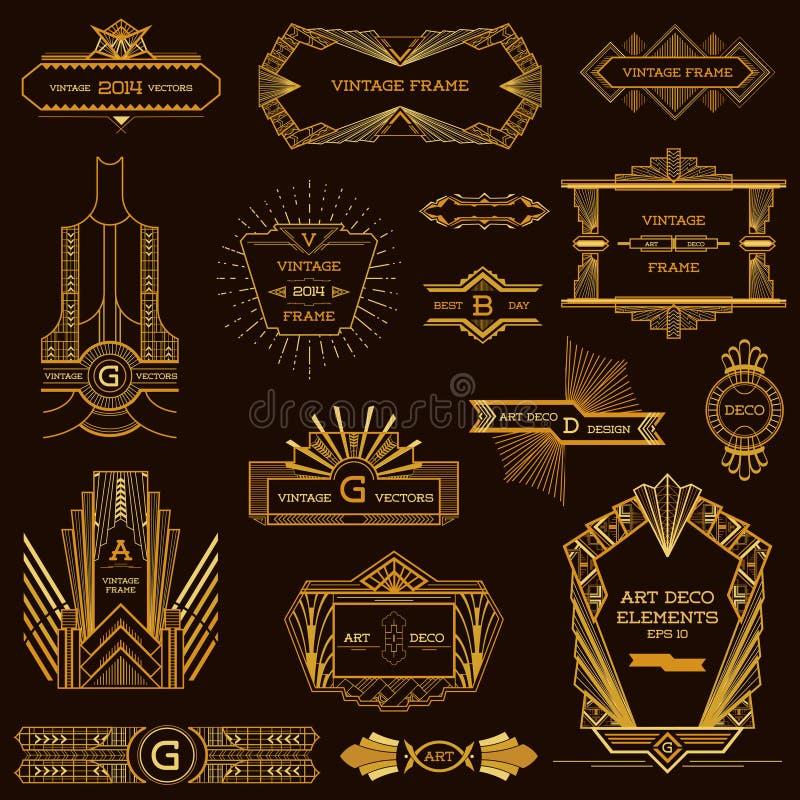 Art Deco Vintage ramar vektor illustrationer