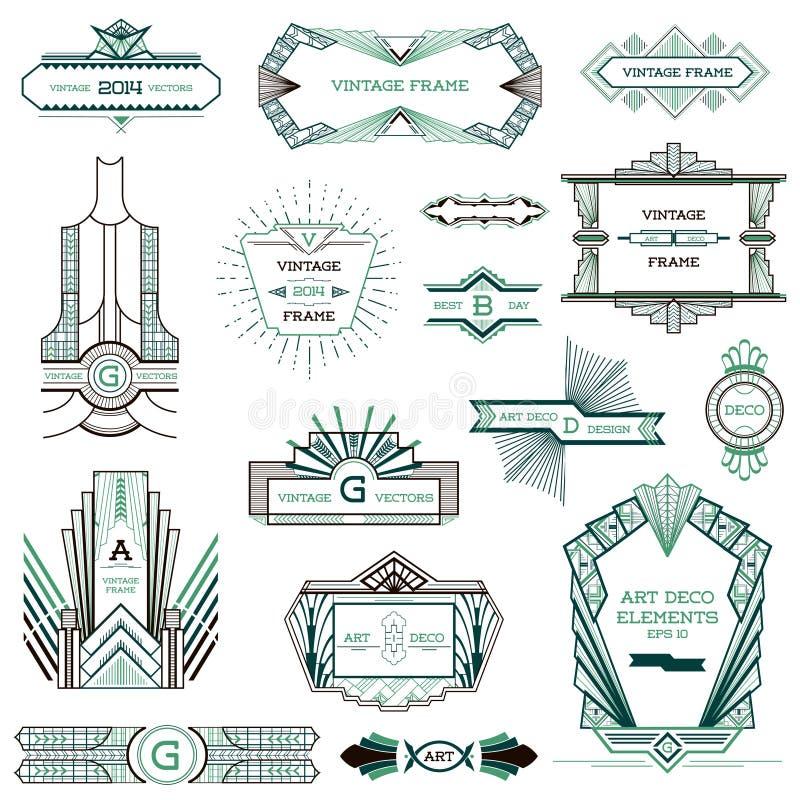 Art Deco Vintage ramar stock illustrationer