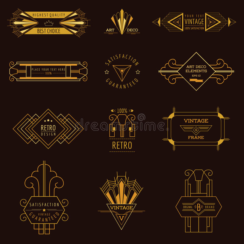 Art Deco Vintage ramar royaltyfri illustrationer