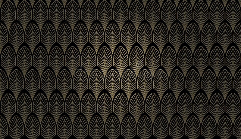 Art Deco Wall. An art deco styled wallpaper pattern in gold and black