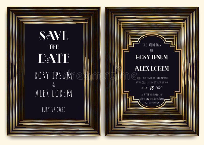 Art Deco Wedding Card met een gouden-Gevormde Achtergrond vector illustratie