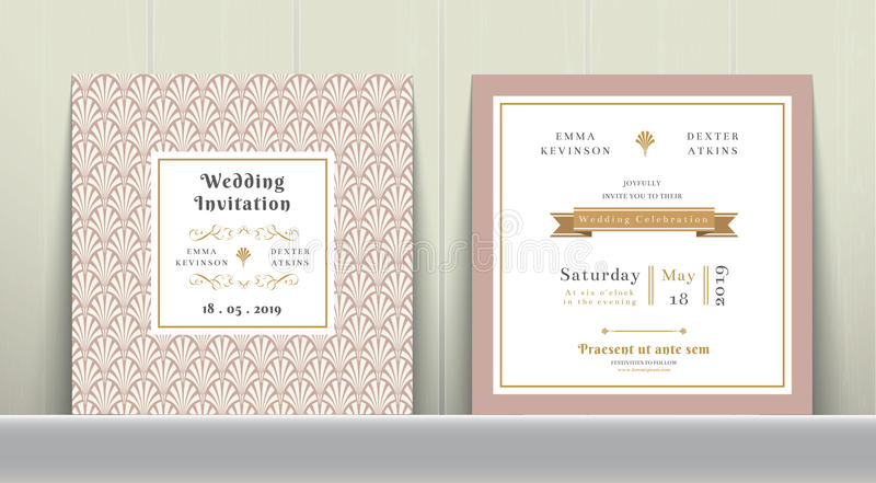 Art Deco Wedding Invitation Card in Gold and Pink vector illustration