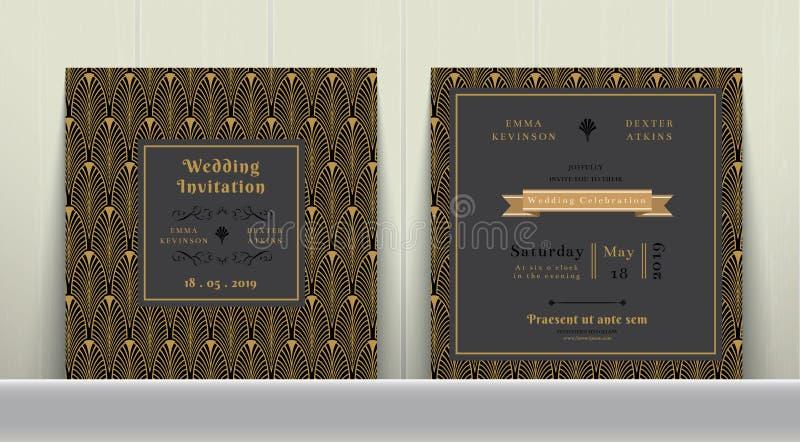 Art Deco Wedding Invitation Card i guld och mörker - grå färg stock illustrationer