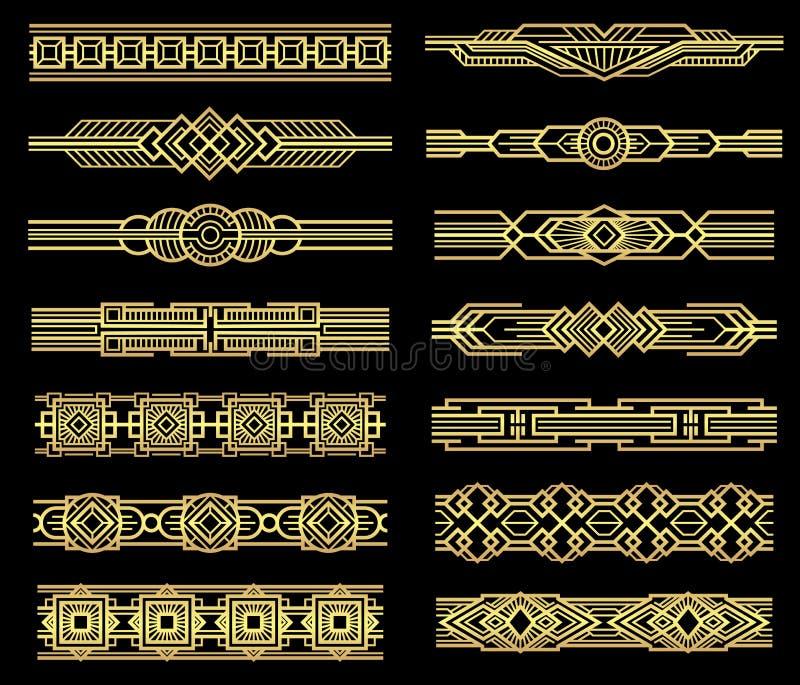 Art Deco wektorowe kreskowe granicy ustawiać w 1920s grafice projektują ilustracja wektor