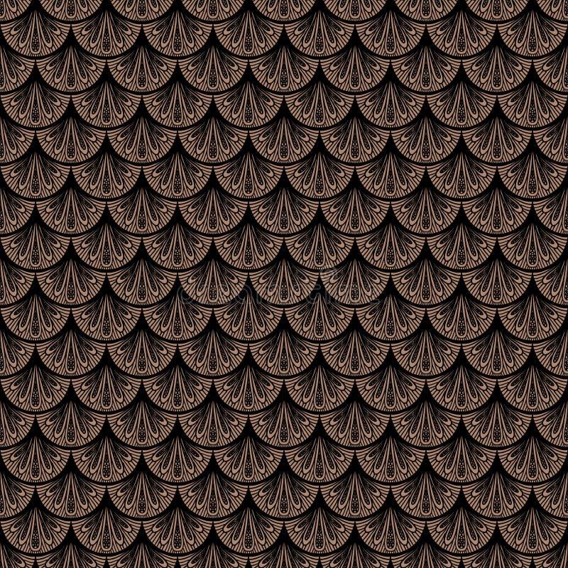 Art Deco wektorowy geometryczny wzór w brown kolorze ilustracja wektor