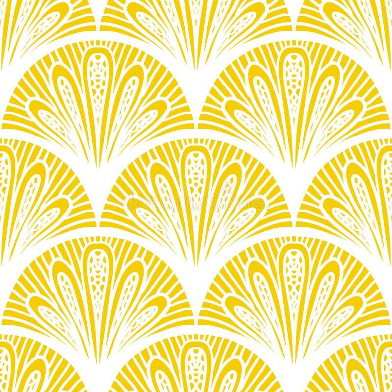 Art Deco wektorowy geometryczny wzór w jaskrawym kolorze żółtym royalty ilustracja