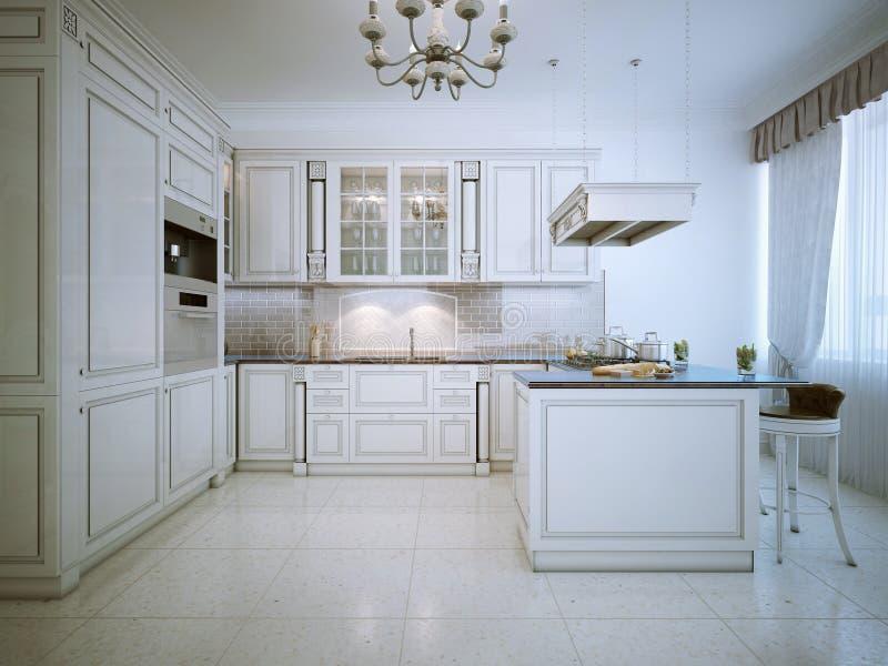 Art Deco White Kitchen Interior. 3D Render