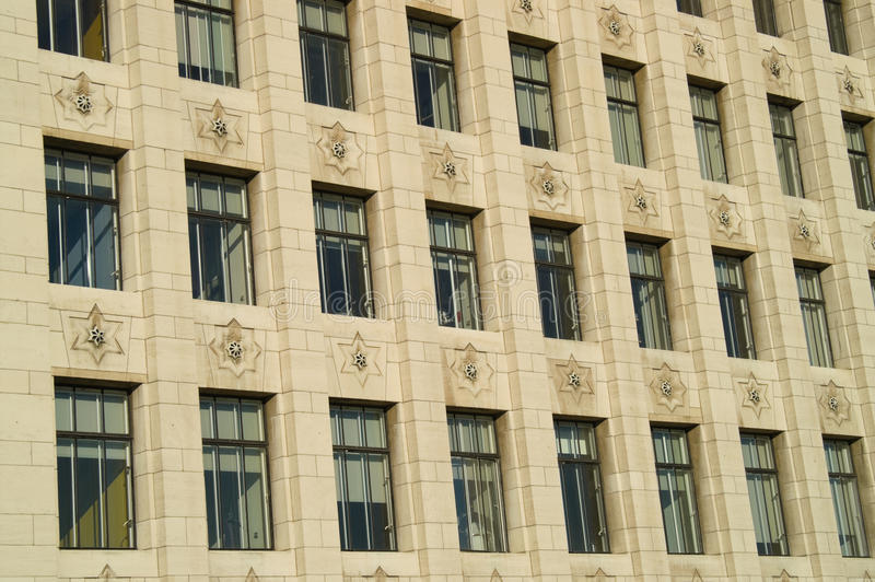 Art Deco window pattern. Detail of windows pattern in a Art Deco office building stock image