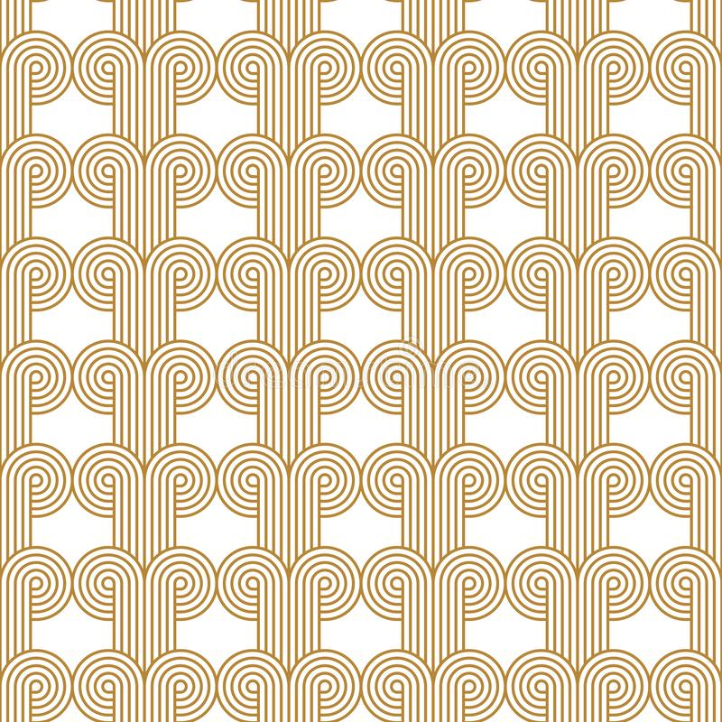 Art Deco Woven Circles Seamless Vector Pattern Gold stock photo