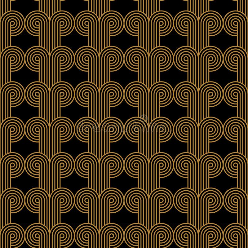 Art Deco Woven Circles Seamless Vector Pattern Gold stock images
