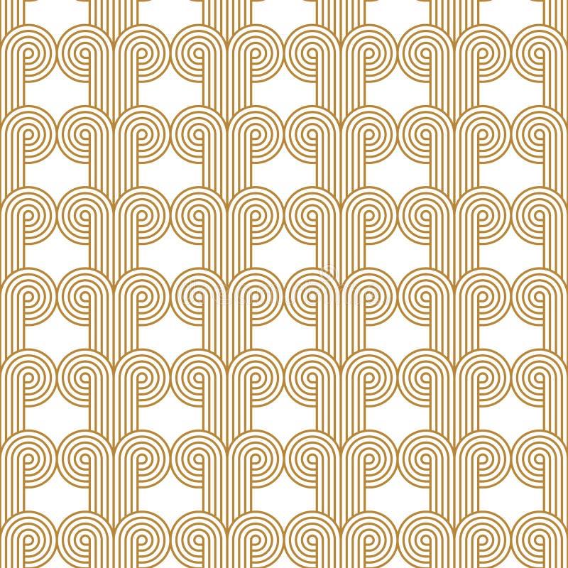 Art Deco Wyplatający okręgu wektoru wzoru Bezszwowy złoto zdjęcie stock