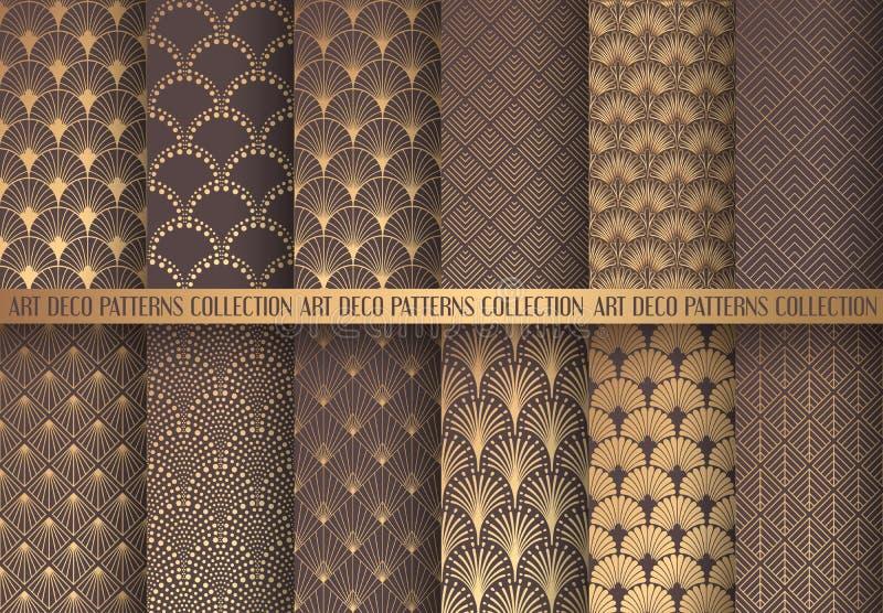 Art Deco wzory Ustawiający ilustracja wektor