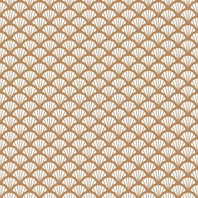 Art Deco złoto i biały rybiej skala stylu geometryczny wzór ilustracji