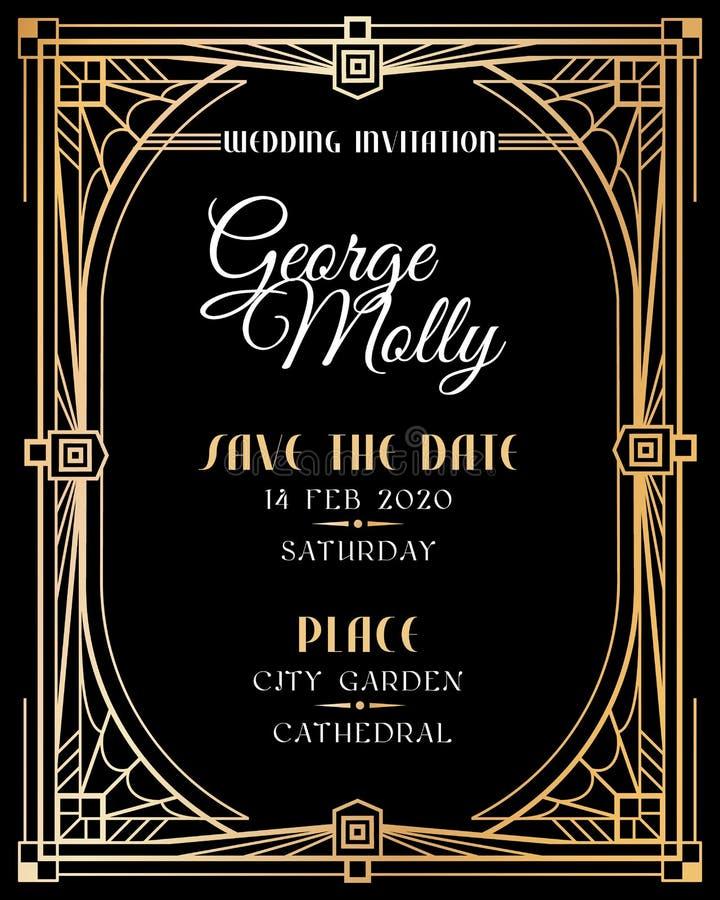 Art Deco zaproszenie Ślubna art deco karta z złoto ramy granicą, klasycznych 1920s retro stylowa luksusowa sztuka z?oty streszcze ilustracji