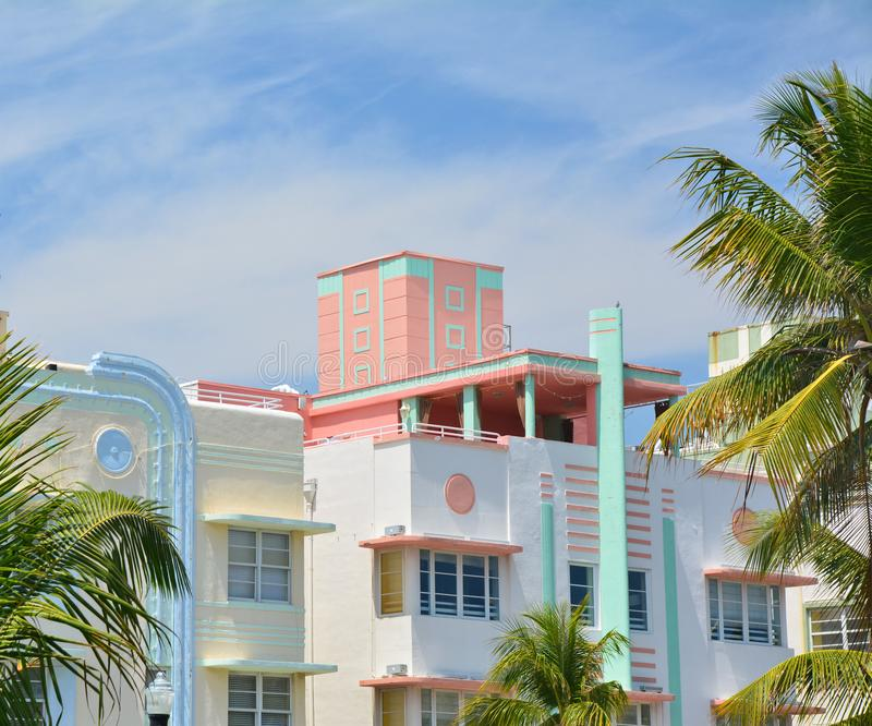 Art- DecoArtarchitektur im Miami Beach lizenzfreies stockfoto