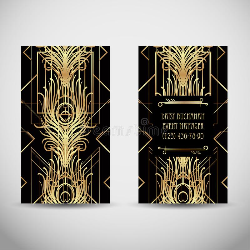 Art- DecoArtvisitenkarte Palmenblume und -kreis Abstraktes Weinlese patt vektor abbildung