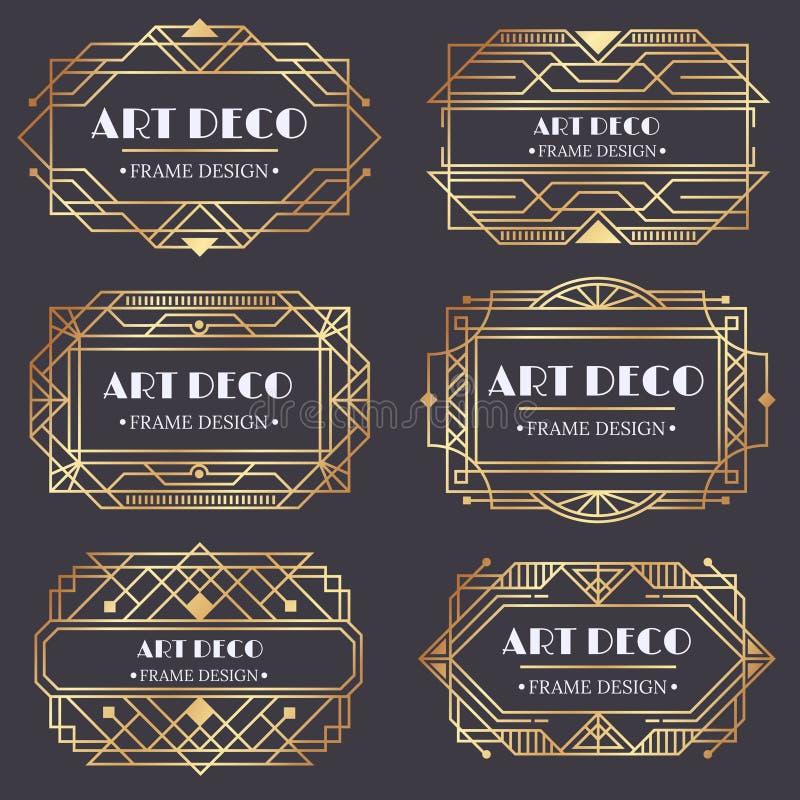 Art- DecoFeld Antiker goldener Aufkleber, Luxusgoldvisitenkartebuchstabetitel und Weinleseverzierungsrahmen entwerfen Vektor lizenzfreie abbildung