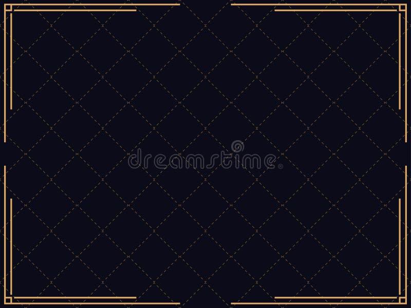 Art- DecoFeld Lineare Grenze der Weinlese Entwerfen Sie eine Schablone für Einladungen, Broschüren und Grußkarten stock abbildung