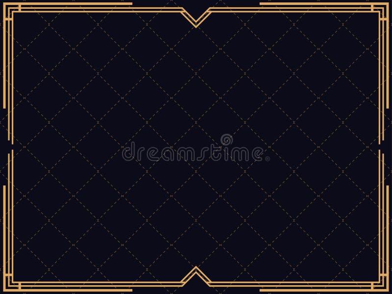Art- DecoFeld Lineare Grenze der Weinlese Entwerfen Sie eine Schablone für Einladungen, Broschüren und Grußkarten vektor abbildung