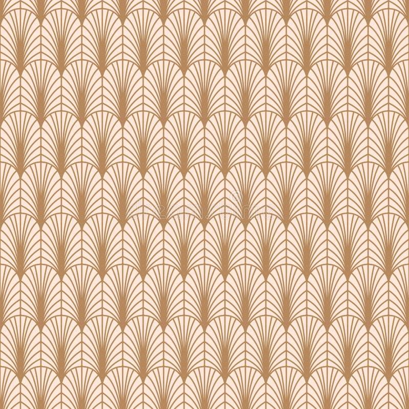 Art- DecoGoldlinie Muster des geometrischen Stils lizenzfreie abbildung
