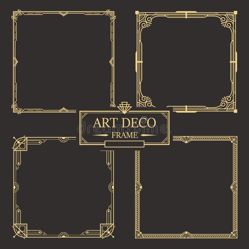 Art- DecoGrenze und Rahmensatzvektor lizenzfreie abbildung