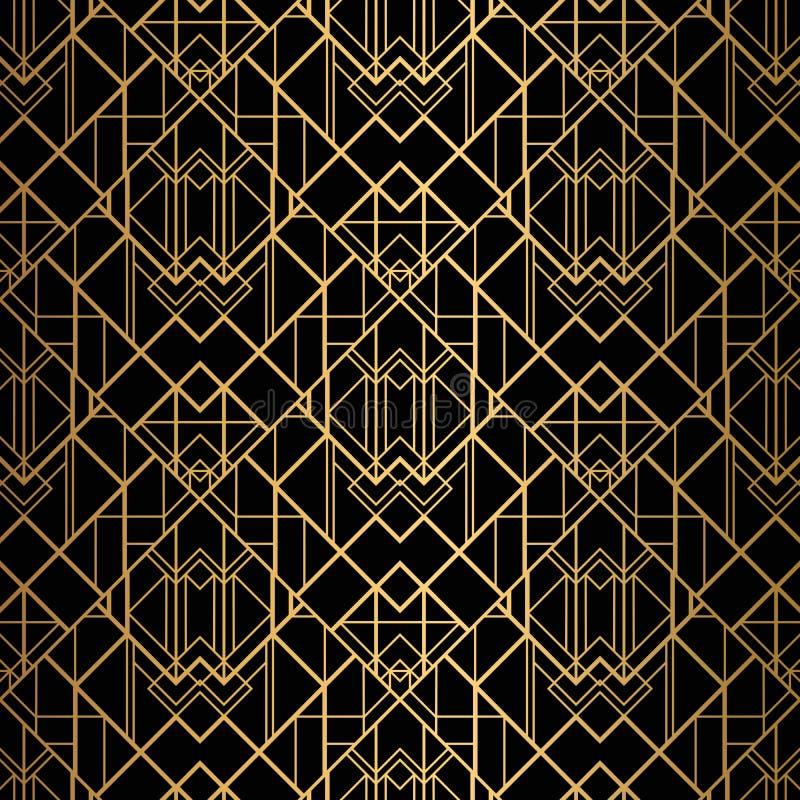 Art DecoMuster Nahtloser Schwarzer und Goldhintergrund vektor abbildung