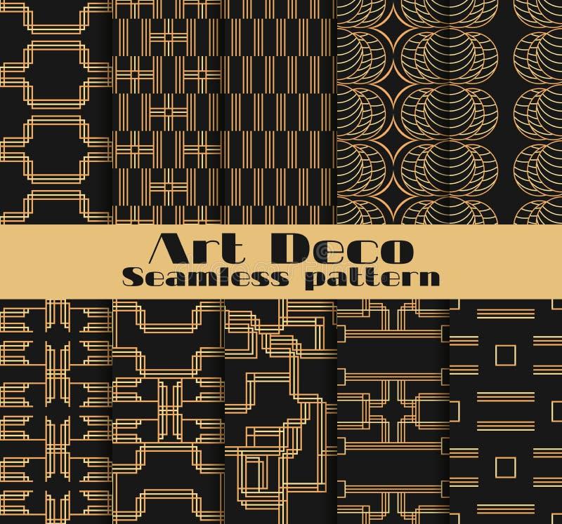 Art- Deconahtlose Muster Satz von zehn geometrischen Hintergründen Reden Sie ` 1920 s, ` 1930 s an Vektor lizenzfreie abbildung