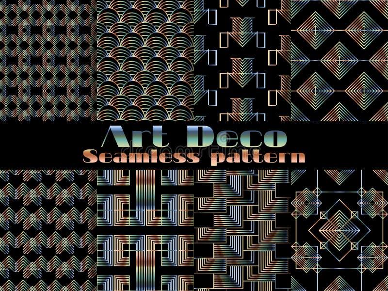 Art- Deconahtloses Muster Gesetzte Retro- Hintergründe Reden Sie ` 1920 s, ` 1930 s an Vektor lizenzfreie abbildung